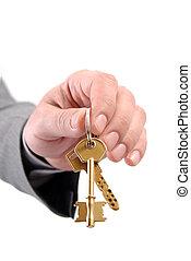 dzierżawa, prawdziwy, samiec, dwa, wykonawca, keys., ręka, stan