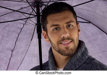 dzierżawa, prospekt, człowiek, parasol, przód
