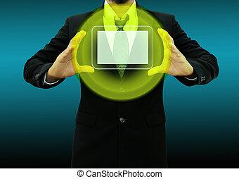 dzierżawa ręka, komputer, człowiek, handlowy, tabliczka, jego