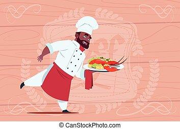 dzierżawa, restauracja, drewniany, na, textured, amerykanka, jednolity, mistrz kucharski, szef, homar, tło, afrykanin, kok, biały, taca, uśmiechanie się, rysunek