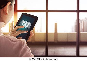 dzierżawa, słowo, opodatkować, ekran, kobieta handlowa, nowoczesny, tabliczka