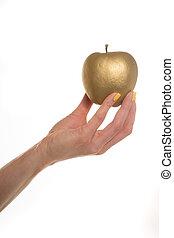 dzierżawa, samica, jabłko, złoty, ręka