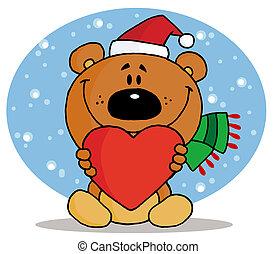 dzierżawa, serce, niedźwiedź, boże narodzenie, czerwony