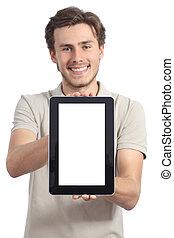 dzierżawa, tabliczka, app, młody, wystawa, człowiek, pokaz, czysty