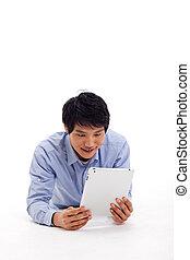 dzierżawa, tabliczka, obsadzać komputer, asian