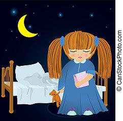 dziewczyna, łóżko, senny, wektor, rysunek