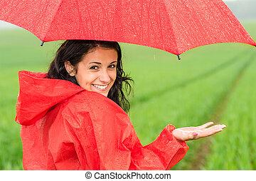 dziewczyna, żwawy, deszcz, nastolatek