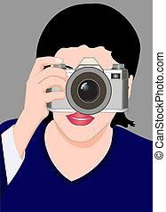 dziewczyna, aparat fotograficzny