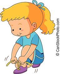 dziewczyna, biały, shoelaces, tło, przywiązywanie