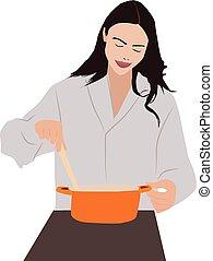 dziewczyna, biały, tło., wektor, ilustracja, gotowanie