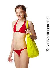 dziewczyna, bikini, czerwony