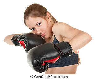 dziewczyna, boks rękawiczki, lekkoatletyka
