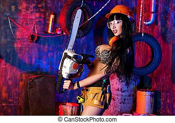 dziewczyna, chainsaw