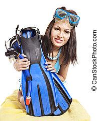 dziewczyna, chodząc, nurkowanie, gear.