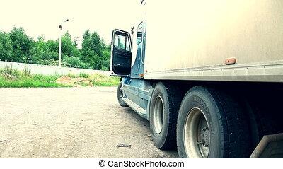 dziewczyna, ciężarówka, piękno, chód, wózek, młody