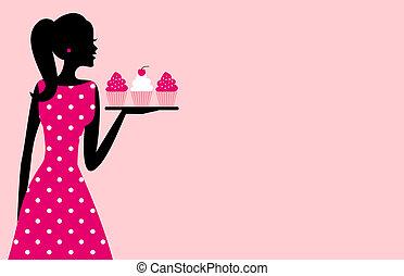 dziewczyna, cupcake