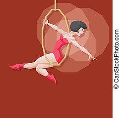 dziewczyna, cyrk, antena, rysunek, szpilka-do góry