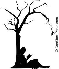 dziewczyna czytanie, pod, niejaki, drzewo