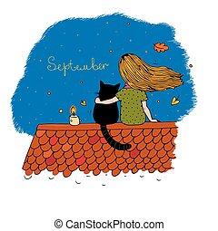 dziewczyna, dach, kot