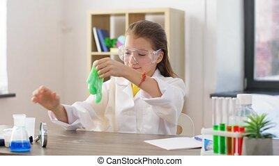 dziewczyna, dom, interpretacja, laboratorium, szlam