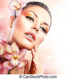 dziewczyna, dotykanie, kwiaty, twarz, zdrój, storczyk, jej, piękny