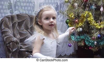 dziewczyna, drzewo, boże narodzenie, kostium