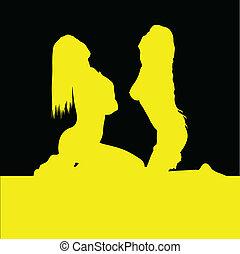 dziewczyna, dwa, żółte tło, czarnoskóry