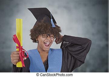 dziewczyna, dyplom, skala