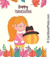 dziewczyna, dziękczynienie, pielgrzym, dzierżawa, dynia, dzień, kapelusz, szczęśliwy