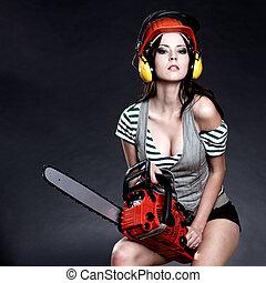 dziewczyna, dzierżawa, chainsaw, sexy