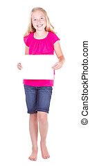 dziewczyna, dzierżawa, niejaki, czysty, biały, papier