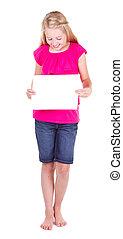 dziewczyna, dzierżawa, niejaki, czysty, biały, papier, przeglądnięcie na dół