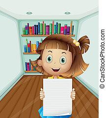 dziewczyna, dzierżawa papier, opróżniać, wnętrze, pokój
