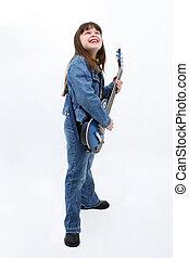 dziewczyna, elektryczna gitara