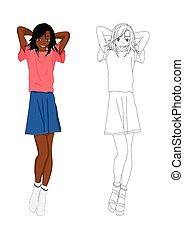 dziewczyna, fason, drelich, no.1, afrykanin