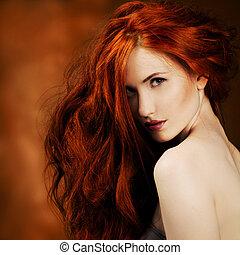 dziewczyna, fason, hair., portret, czerwony