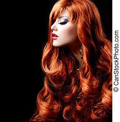 dziewczyna, fason, hair., portret, falisty, czerwony