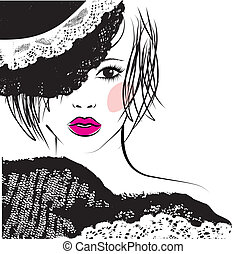 dziewczyna, fason, koronka, ilustracja, kapelusz