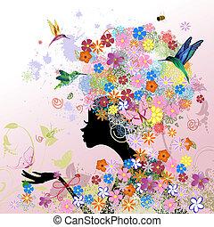 dziewczyna, fason, kwiaty
