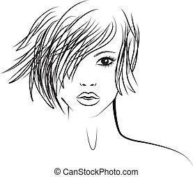 dziewczyna, fason, modny, ilustracja, fryzura
