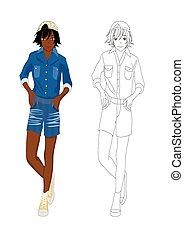 dziewczyna, fason, no.2, afrykanin, drelich