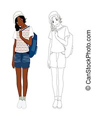 dziewczyna, fason, no.3, drelich, afrykanin