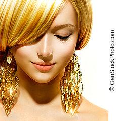 dziewczyna, fason, piękno, wzór, złoty, earrings, blondynka