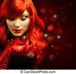 dziewczyna, fason, portrait., hair., magia, czerwony