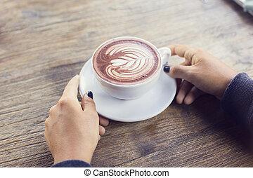 dziewczyna, filiżanka do kawy