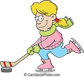 dziewczyna, grając hokej, lód, rysunek