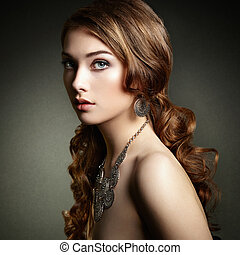dziewczyna, h, piękno, długi, hair., kobieta, piękny, kędzierzawy, elegancki