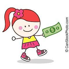 dziewczyna, halabarda, dolar