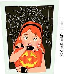 dziewczyna, halloween, dynia
