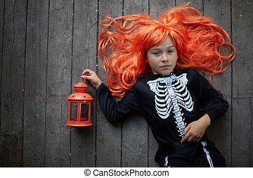 dziewczyna, halloween, miedzianowłosy